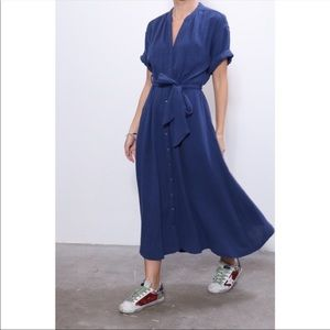 Xirena Cate Off Shore Button Front Midi Dress M